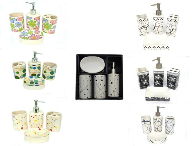 Seifenspender Seifenschale Badezimmerset Badset 4 teilig Keramik