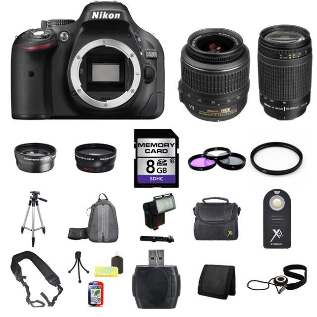 Nikon D5200 SLR Camera w/18-55mm & 70-300mm Lenses 8GB Complete Kit