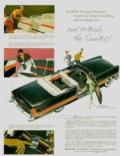 1956 Packard Caribbean Convertible Car Ad Old Print