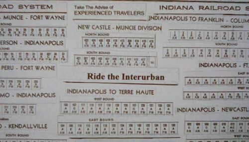 INDIANA RR SYSTEM 9 INTERURBAN 1936-16 x 20 System Map *HISTORIC Aug