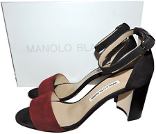 $745 Manolo Blahnik Lauratomod Ankle-Strap Sandal Slingback Black Red Shoe 38.5