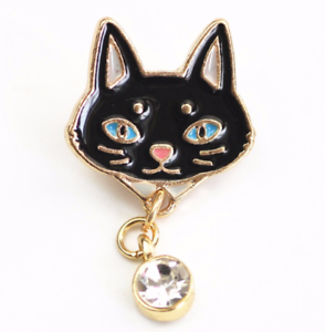 Cat Brooch Pin Badge Enamel Gift Cat Lover Rhinestone Black Ladies Jewellery UK