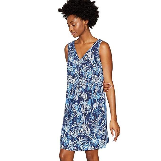 Principes Debenhams Imprimé Bleu En Lin Dress Sz 20 Bnwt