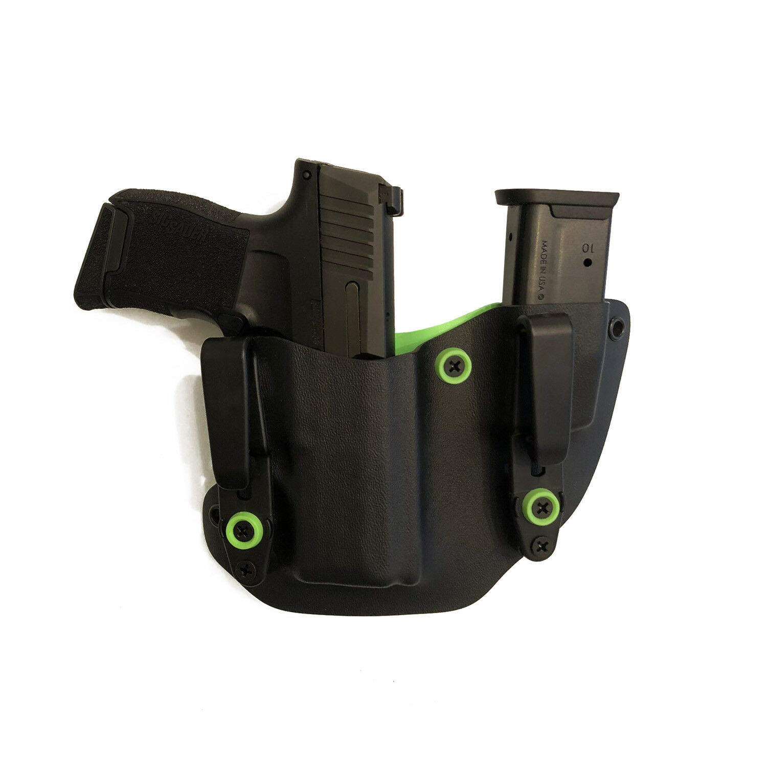 Fits S&W Shield 9 40 IWB Kydex Concealment Gun Mag Holster Combo ZOMBIE GREEN