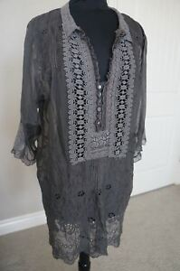 NEW-4-Love-amp-Liberty-Johnny-Was-Silk-amp-Lace-Embroiderd-Blouse-Top-Tunic-Dress-S