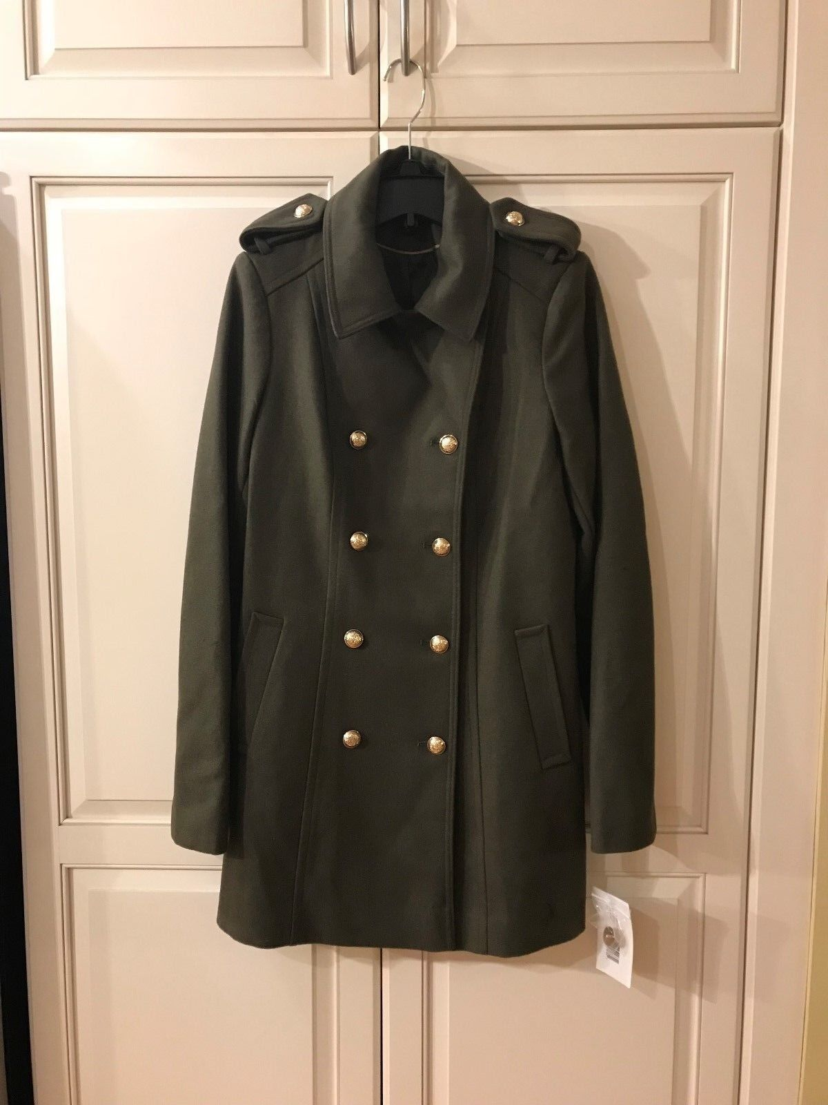 NWT Via Via Via Spiga Women's Double-Breasted Military Wool-Blend Coat 10 LUSHOLIVE  360 35edcb