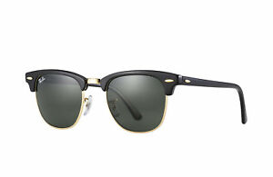 Neuf-Ray-Ban-Clubmaster-RB3016-W0365-Noir-or-avec-Vert-G-15-51mm