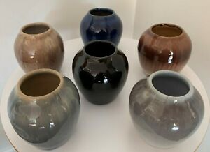 Vintage-Cliftwood-Art-Pottery-Drip-Glaze-Stoneware-Vases-1920-40-039-s