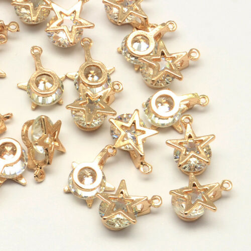 100 x Light Gold Star Alloy Charms with Cubic Zirconia Crafts 14x10x6mm Hole 1mm