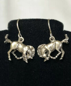 633-Unique-Vintage-Horse-Earrings-925-Sterling-Silver-Signed