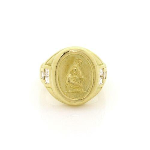 Athena Signed Diamond 18k Yellow Gold Athena Oval