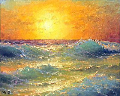 "224-8/""x10/"" GALLERY GICLEE PRINT SEASCAPE Mediterranean Wave Sunset Mesheryakov"