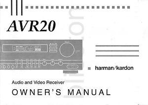 Details about Harman Kardon AVR20 AVR 20 Receiver Amp Owner's Manual
