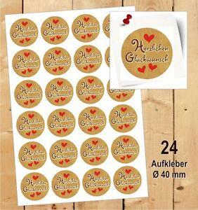 Details Zu 24 Aufkleber Herzlichen Glückwunsch Etikett Geschenk Danke Fest Motiv Herz