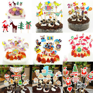 Image Is Loading 24pcs Christmas Cake Picks Cupcake Toppers Flags Happy