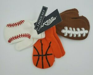 Baseball Basketball Football Mittens Sports Boys 2T-4T B21 M Set of 3 Gloves