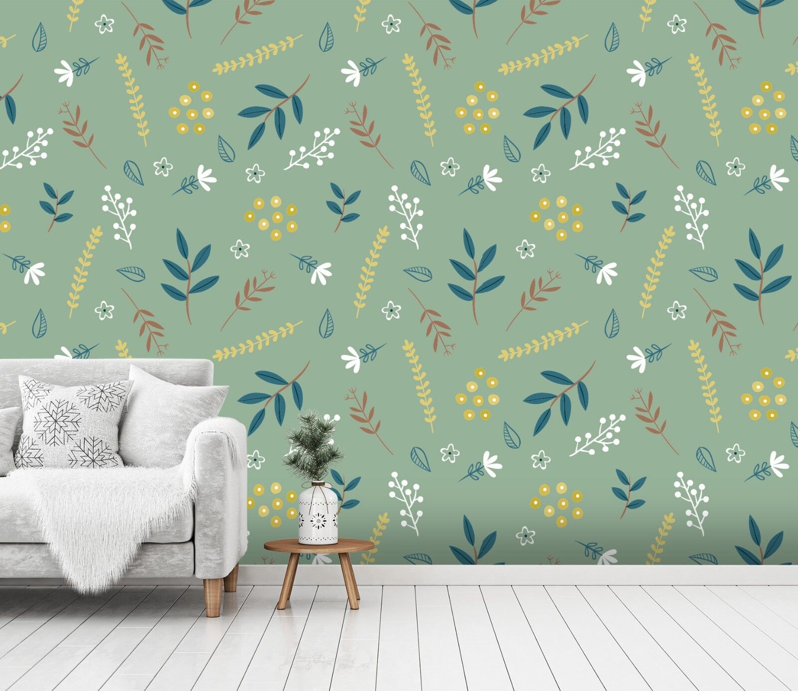 3D Leaves Pattern 2 Wallpaper Mural Print Wall Indoor Wallpaper Murals UK Summer