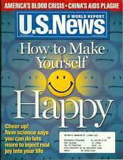 2001 U.S. News & World Report Magazine: How to Make Yourself Happy/Blood Crisis