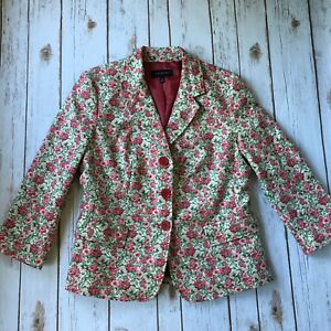 Talbots-Floral-Blazer-Jacket-8-Medium-Spring-Pink-Rose-Green-Career-Wear-to-Work