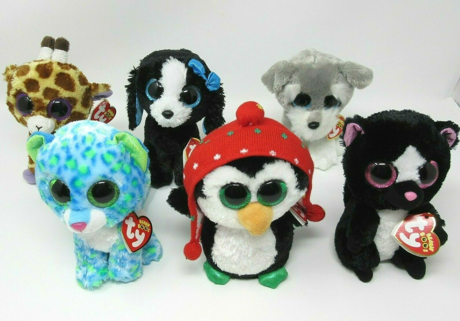 Ty Beanie Boo Bundle tags soft toy 6  Tracey Flora Freeze Whiskers Safari Leona