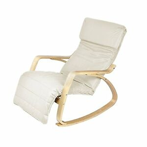 White Lounge Rocking Chair Comfortable Relaxing Armchair W Adjustable Footrest Ebay