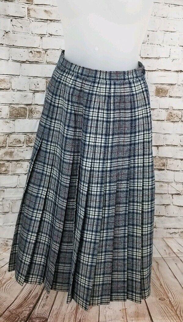 Vintage Pendleton 100% Virgin Wool Plaid Pleated Tartan Skirt bluee Sz 8 USA