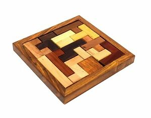 """6"""" x 6"""" Inch Wooden Jigsaw Puzzle Game Pedagogical Board Brain Teaser Games"""