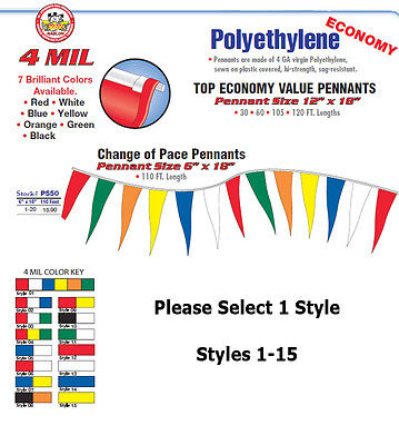 """BLUE WHITE 12/""""wx18/""""h PENNANT//STREAMERS 105/' STRING SIGN"""