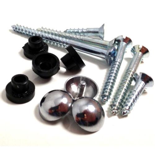 """1.25 /"""" 32mm x 8g miroir vis avec chrome dome caps /& œillets en caoutchouc de protection"""