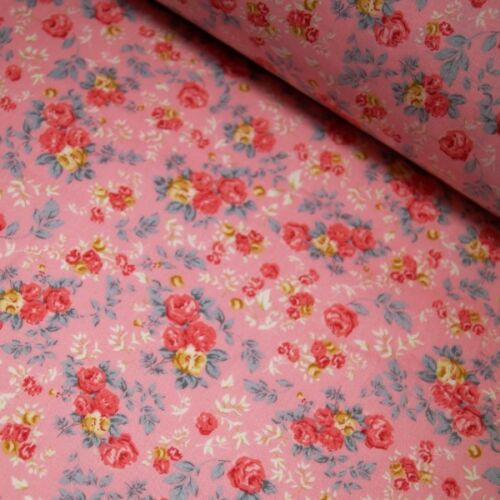 100/% Cotton Poplin Fabric Rose /& Hubble Rosie/'s Pretty Roses Flower Floral