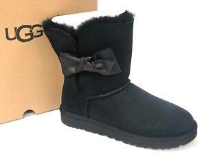 e25fa812586 Details about UGG Australia Women's DAELYNN Black 1019983 Sheepskin Suede  Bow Ankle Boots