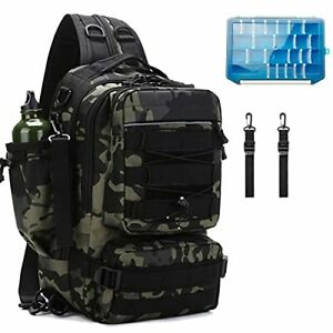 Fishing Tackle Backpack Storage Bag, Outdoor Shoulder Green Camo + Tackle Box