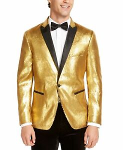 INC Mens Blazer Gold Size Medium M Sequin All Over Slim Fit One-Button $149 #133