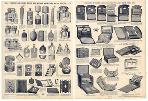 Flaschen-Glas-Tintenfaesser-Writing-cases-Despatch-boxes-Katalog-Holzstich-1890