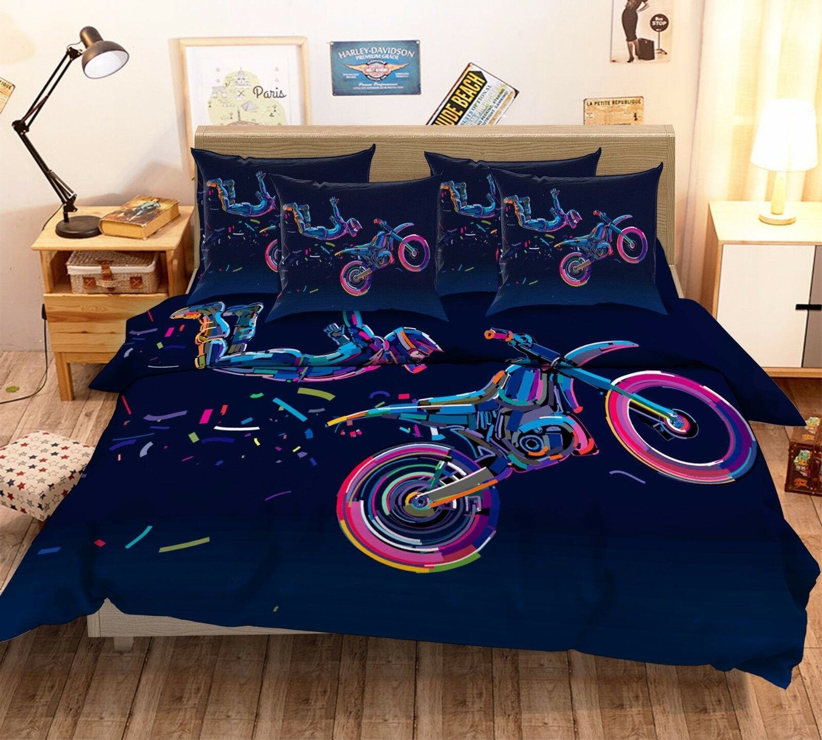 3D Flying People Scooter 7 Bed Pillowcases Quilt Duvet Cover Set Single Queen AU