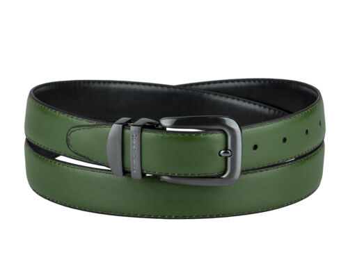 CONCITOR Reversible Belt Solid Colors /& Black Bonded Leather Pewter-Tone Buckle