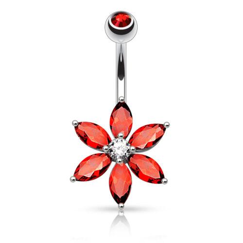 Anneau Coupe la Marquise Zircone Pétales Cristal Fleur Barre de Nombril
