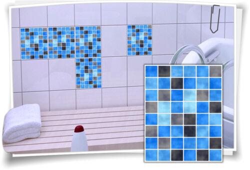 Fliesenaufkleber Fliesenbild Fliesen Aufkleber Mosaik Hellblau Schwarz
