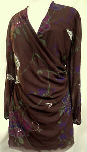 SWEET-PEA-by-staci-frati-Cross-Over-Front-Pullover-Stretch-Top-Ruched-Side-Sz-2X