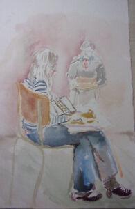 1. Aquarelle Originale (fond D'artiste Vershaeve) Convient Aux Hommes, Femmes Et Enfants