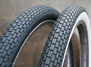 "2-24x1 3//4/"" BLACK BIKE BICYCLE SMALL BRICK FITS SCHWINN S7 VINTAGE RIM"