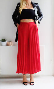 ZARA-RED-PLEATED-CULOTTES-CROPPED-TROUSERS-PANTS-M-L