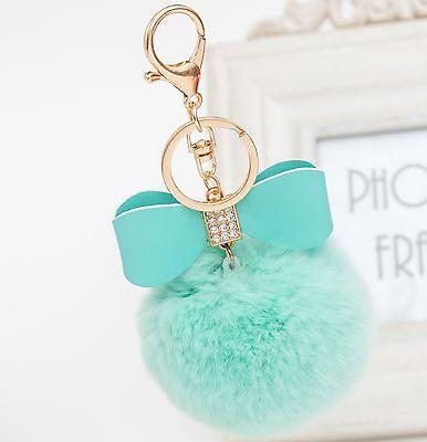 Charm Rabbit Fur Pom-pom Key Chain Bag Fluffy Puff Ball Bow Key Ring Car Pendant