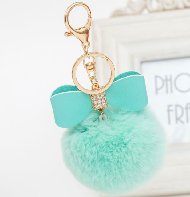 Charm Rabbit Fur Pom-pom Key Chain Bag Fluffy Puff Ball Bow Key Ring Car Pendant