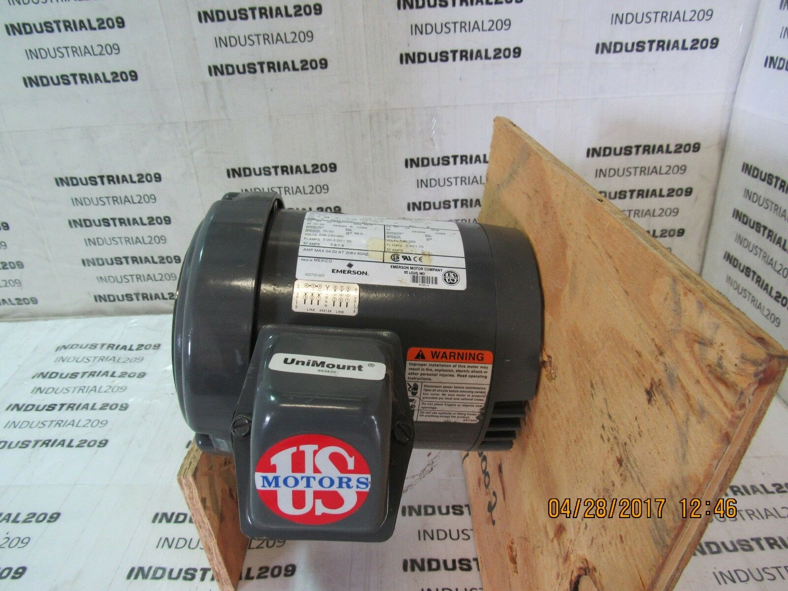 EMERSON MOTOR U1S1ACR 1HP 3475 RPM 208-230 460 F051 NEW