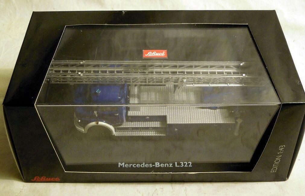 Schuco 03266  mercedes - benz l253  thw  mit mertz dl22 drehleiter, neu und ovp