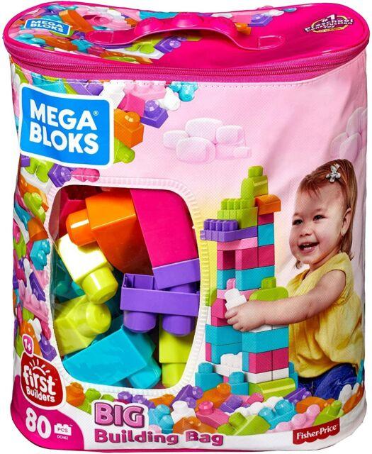 80 Piece Mega Bloks Big Building Bag Classic Large Size Lego Blocks Toddler Kid