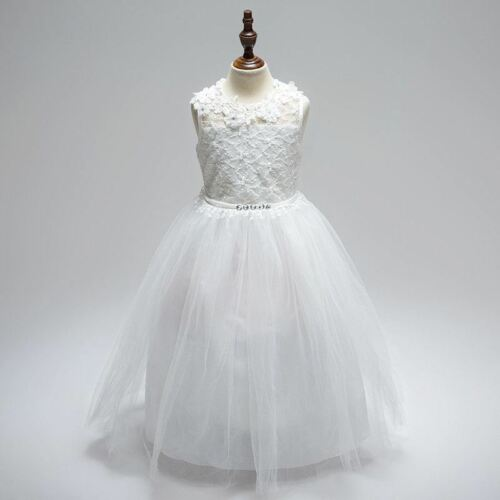 New Lace White Wedding Girls Dress Princess Bridesmaid Tulle Party Kids Clothes
