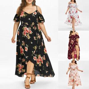 c78d23156b0 Plus Size Women Short Sleeve Cold Shoulder Boho Flower Print Long ...