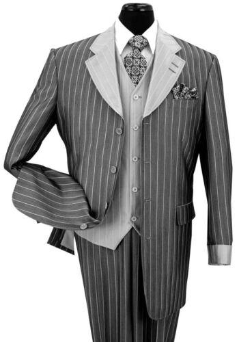 Men/'s Luxurious Gangster Pin-Striped Four Button Suit w// Vest 2911V Black